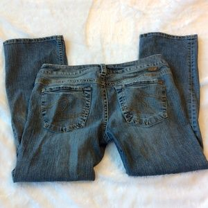 Silver Santorini Cropped Jeans 31 Distressed Fray